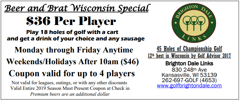 Beer and Brat Wisconsin Special Coupon New
